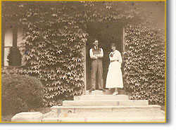 Lawrence & Blanche in front of the caretaker's cottage at The Breakers in 1916