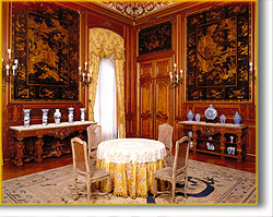oriental-style architectural panels in the Breakfast Room