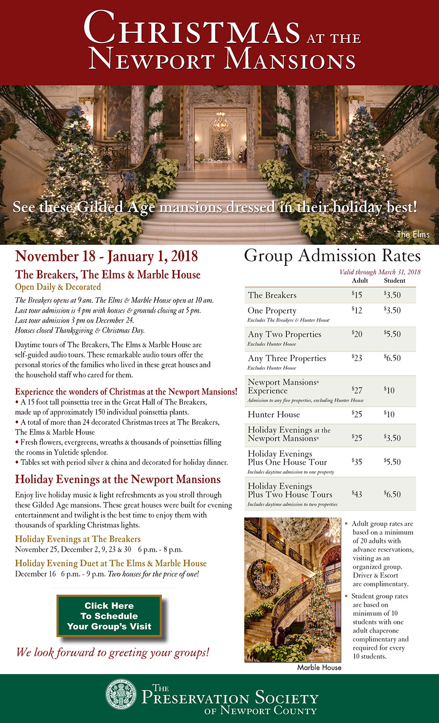 newport mansions/christmas for groups