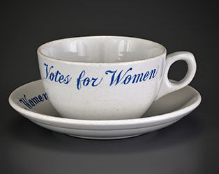 """Votes for Women"" cup and saucer (1914)"